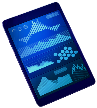 Tablet with graphs and charts on display